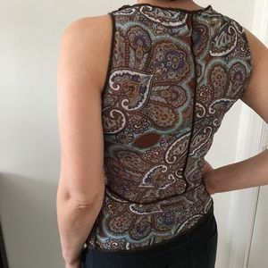 Zara Paisley Print Mesh Top Size L